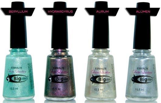 Quantum, cores: São quatro cores: Aurum (douradinho), Alúmen (prateado), Beryllium (verde água cintilante) e Hydraygyrus (roxo cintilante).