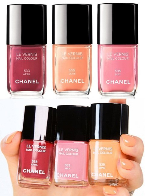 Esmaltes Chanel primavera 2012: April, May, June