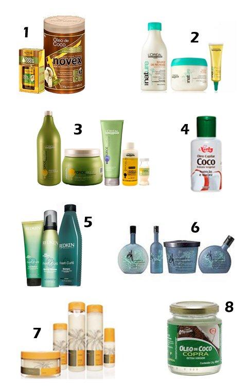 Produtos hidratantes de cabelos com óleo de coco